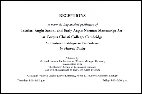Invitation to Receptions to celebrate the co-publication of the Illustrated Catalogue (1997)
