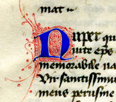 Private Collection, Leaf from Ege MS 41, Gregory's Dialogues, Book III, Chapter 13, initial N for 'Nuper'.