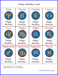 Poster showing full set of 12 Zodiac Birthday Cards, one card for each sign, with Zodiac symbols set in Bembino. Cards © Milly Budny Designs.