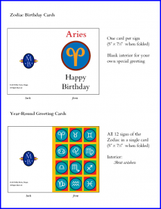 Zodiac Birthday and Greeting Cards with RGME Bembino. Cards © 2015 Milly Budny Designs