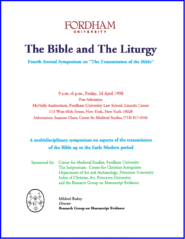 1998 polychrome poster for 'The Bible and The Liturgy' Symposium at Fordham University