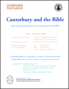 2000 Poster in polychrome lettering for the 'Canterbury and the Bible' Symposium at Douglass College of Rutgers University