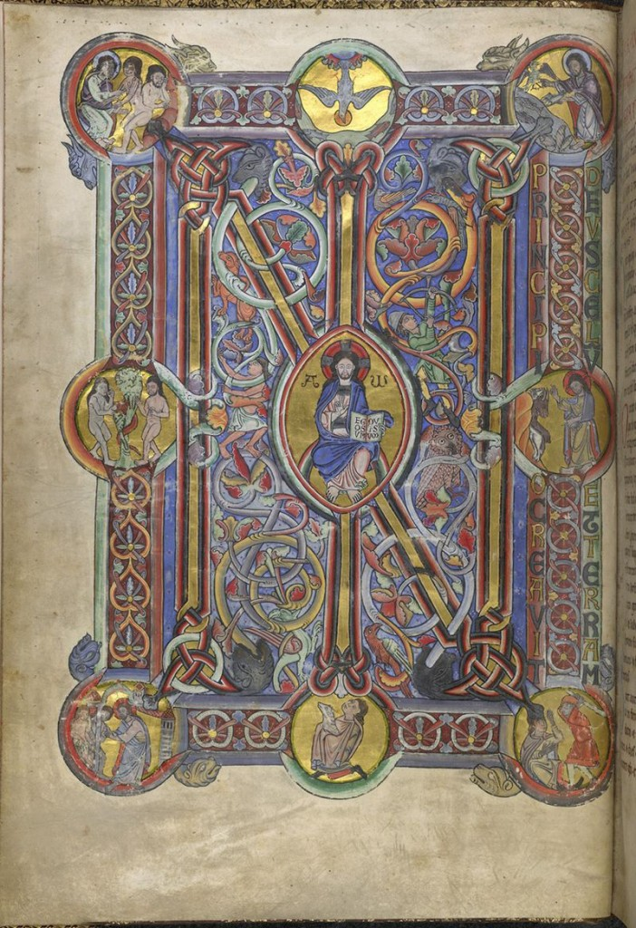 ©The British Library Board, Additional MS 14788, folio 6v, with the opening of Genesis set within a monumental full-page frame filled with ornamental patterns and scenes. Reproduced by permission