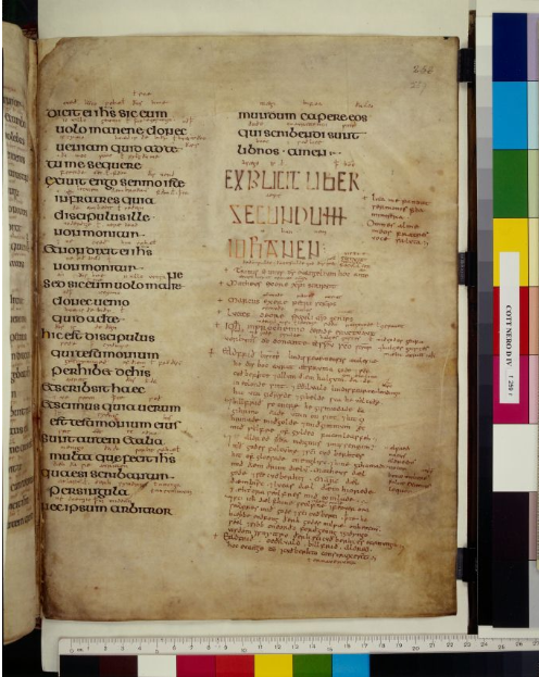 © The British Library Board. Cotton MS Nero D IV folio 259r with colophon.