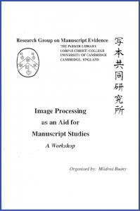 Cover for Preliminary Report of the Workshop on 'Image Processing and Manuscript Studies'