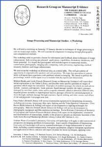Invitation to 'Imaging Aids for Manuscript Studies' Workshop Invitation, Page 1