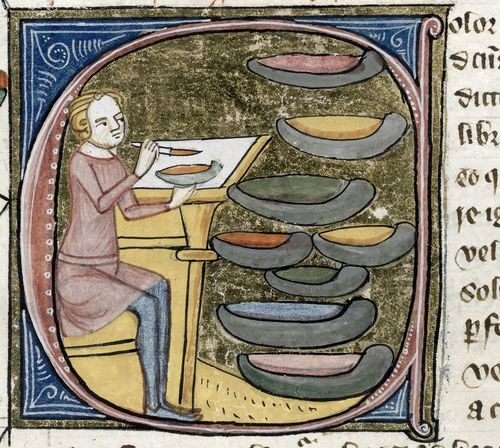 ©The British Library Board, Royal MS 6 E VI, folio 396, detail of initial C for 'Color' with a scene of a seated artist mixing pigments contained in 9 saucer-like dishes. Reproduced by permission