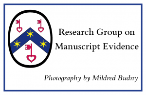 Sign for 'Photography by Mildred Budny' for the Research Group on Manuscript Evidence, logo included