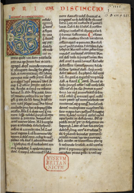 ©The British Library Board, Royal MS 13 B VIII, folio 1r, with the opening of Gerald's 'Topographia Hiberniae'. Reproduced by permission. The text, written in double columns, opens with an enlarged, and partly inset, polychrome initial decorated with animal, foliate, and interlace ornament.