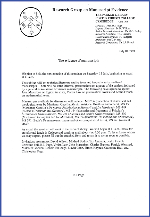 Invitation to 'Technical Literature' Seminar on 13 July 1991
