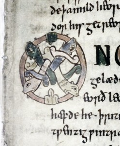 Bodleian Library, Tanner MS 10, folio 38 recto, detail.
