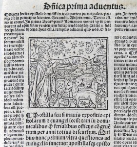 "Woodcut Illustration for the First Sunday of Advent in ""Postilla"" (Lyons, 1527). Photograph © Mildred Budny"