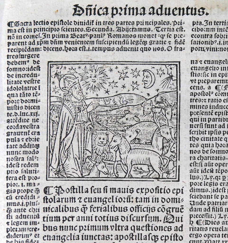 "Woodcut Illustration for the First Sunday of Advent in ""Postilla"" (Lyons, 1527). Photograph by Mildred Budny"