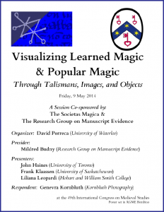 "Poster for ""Visualizing Learned & Popular Magic"" Congress Session (May 2014)"