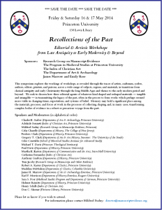 "Save the Date Announcement for Symposium on ""Recollections of the Past"" (May 2015) in its completed version with border"