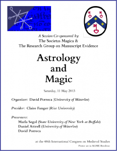"Poster for ""Astrology and Magic"" Congress Session (7 May 2013)"