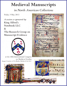 "Poster for ""Medieval Manuscripts in North America"" Congress Session (9 May 2014)"