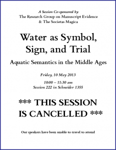"Notice for Cancellation of ""Water as Symbol, Sign, and Trial""Congress Session (7 May 2013)"