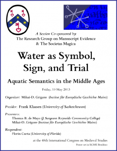 "Poster for ""Water as Symbol, Sign, and Trial"" Congress Session (7 May 2014) which had to be cancelled"