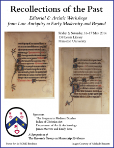 "Poster for ""Recollections of the Past"" Symposium (May 2014) with border"