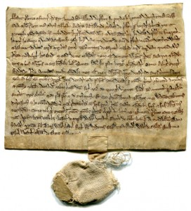 Medieval document with bag to cover its seal