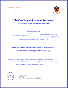 Carolingian Bible Symposium Announcement (1996)