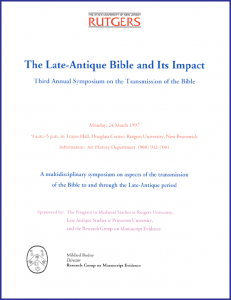 """Late-Antique Bible and Its Impact"" Symposium 1996 Poster"
