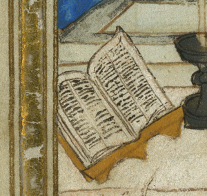Detail of an opened book in a late-medieval manuscript illustration