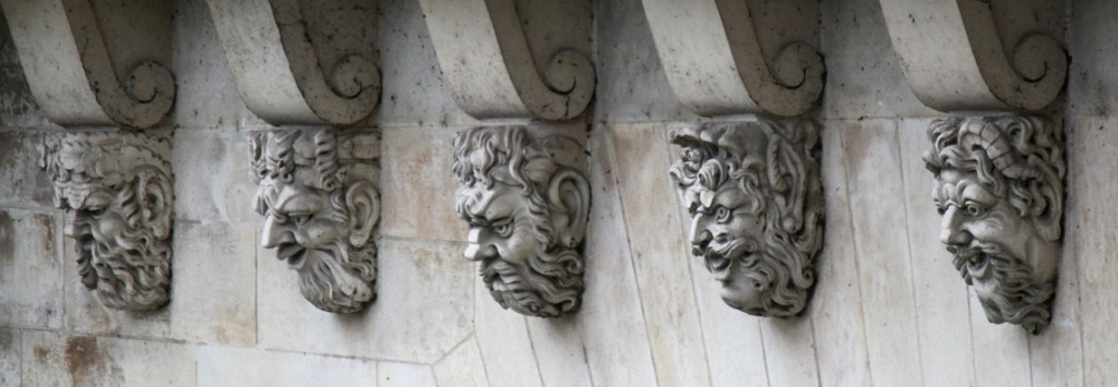 5 Corbel Heads on Le Pont Neuf, Paris