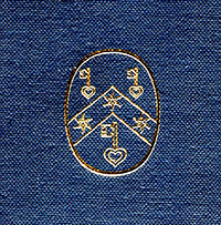 Gold-stamped logo of the Research Group on Manuscript Evidence over Royal Blue fabric ground on the Front Cover of Volume II (Plates) of 'Insular, Anglo-Saxon, and Early Anglo-Norman Manuscript Art at Corpus Christi College, Cambridge' by Mildred Budny