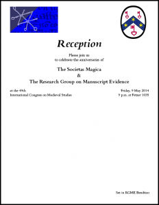 Invitation to Reception celebrating the anniversaries of the Societas Magica and the Research Group (May 2014)