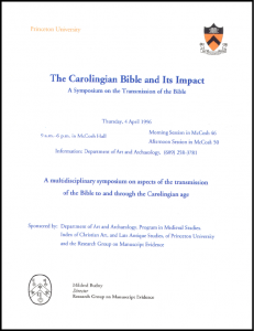 """The Carolingian Bible and Its Impact"" Symposium Poster"