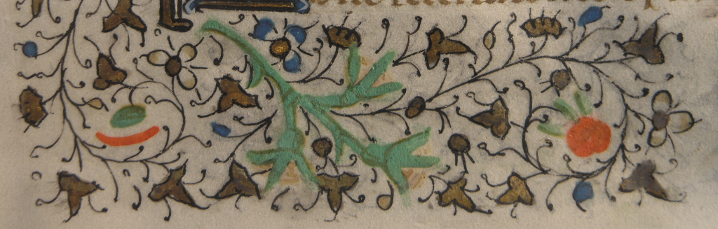 Floral border from 15th-century Book of Hours, with photography copyright Mildred Budny
