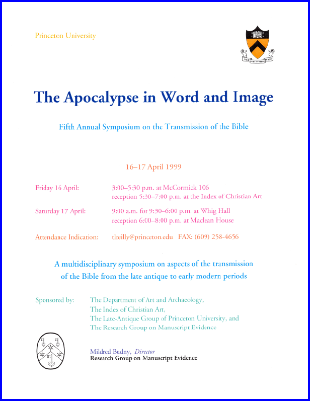 "Poster for ""The Apocalypse in Word and Image"" Symposium (1999)"