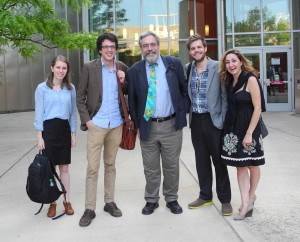 "Four postgraduate students and their Professor celebrate the successful accomplishment of the ""Recollections of the Past"" Symposium, at which 3 of these students and their Professor presented papers. Photography © Mildred Budny"