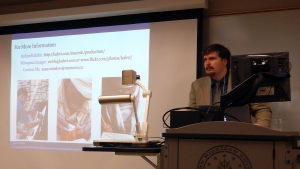 "Sean Winslow presenting his paper for the ""Medieval Writing Materials"" session at the 2014 Congress"