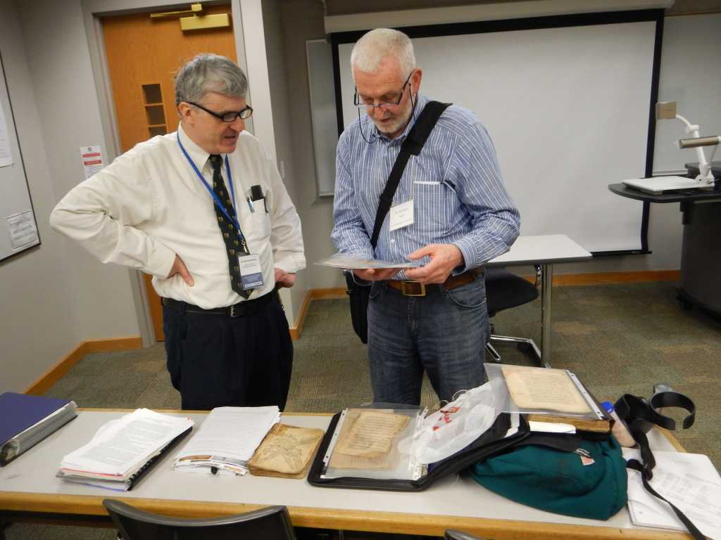 David Sorenson and Donncha MacGabhann examine manuscript materials
