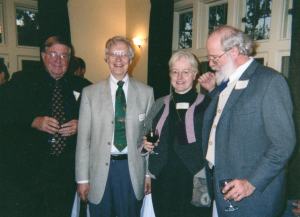 Photograph of Roger E. Reynolds (left) and others at our 'Editing' Colloquium (2003)