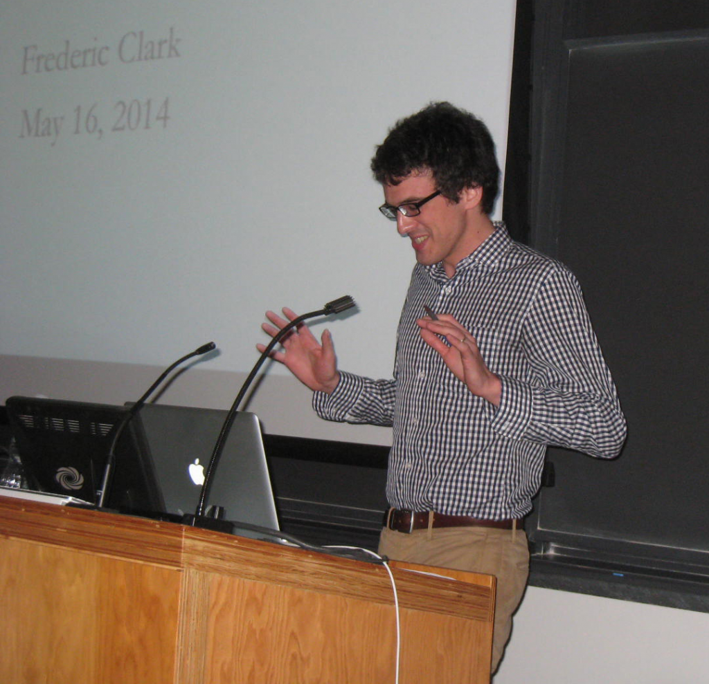 "Frederic Clark speaks at the ""Recollections of the Past"" Symposium (2014), with photography by James Heidere"