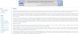 Screenshot from the first website of the Research Group on Manuscript Evidence