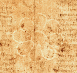 Rosette Watermark in mid-15th-century Latin Book of Saints.