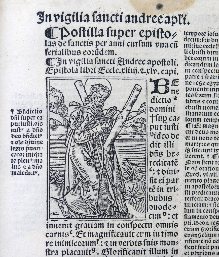Postilla printed in Lyons in 1527: Woodcut illustration for the Feast of Saint Andrew (20 November).