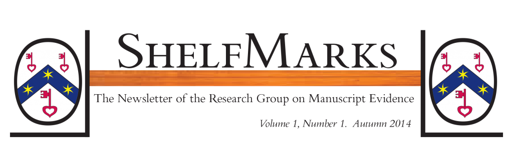 Masthead for ShelfMarks, the newsletter of the Research Group on Manuscript Evidence, laid out in RGME Bembino