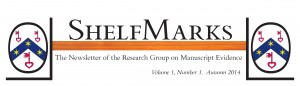 2014 Masthead for the RGME-newsletter 'ShelfMarks'