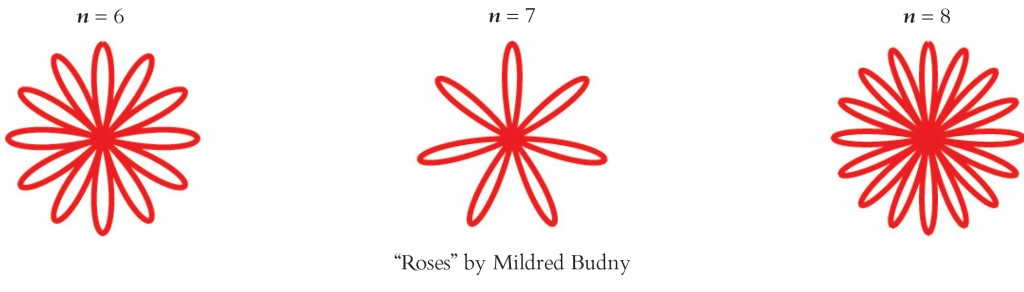 Roses according to n=6, n=7, and n=8, laid out by Mildred Budny