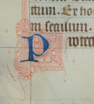 Initial P of Prayer in Book of Hours, with Photography © Mildred Budny
