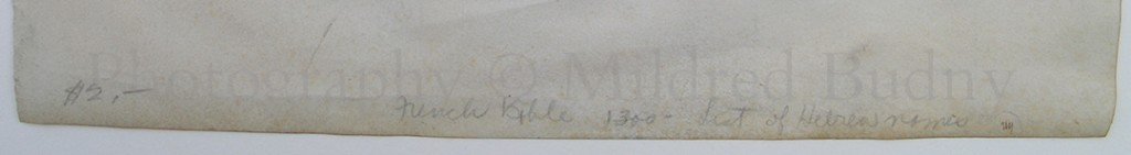 Pencil Inscription at the lower front of a manuscript leaf. Photography © Mildred Budny