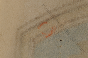 Orange pigment offsets onto the blank recto from the formerly adjacent leaf (now lost). Photography © Mildred Budny