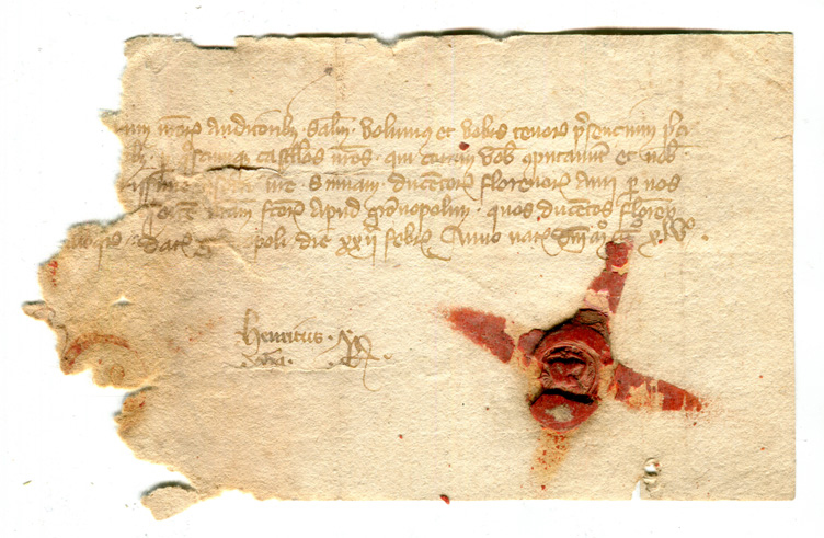 Document in 5 lines on paper, dated 22 February 1345 (Old Style), with red wax seal. Image reproduced by permission.