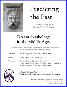Poster for 'Predicting the Past' Session at the 2015 International Congress on Medieval Studies with photograph by Ilya V. Sverdlov and layout in RGME Bembino